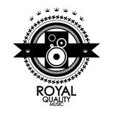 Black label royal quality music stamp Stock Images
