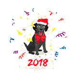Black Labrador. Happy New Year Royalty Free Stock Images