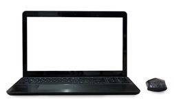 Black Labtop with mouse bluetooth isolated white background. Stock Image