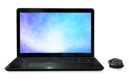 Black Labtop with mouse bluetooth and sky screen  isolated white Stock Photography