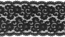 Black lace. Flowered  black lace on white background Stock Photo