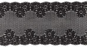 Black lace. Flowered  black lace on white background Stock Photos