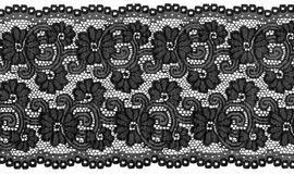 Black lace. Flowered  black lace on white background Royalty Free Stock Images