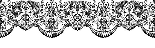 Black lace border. Isolated on white. Clip art Stock Photo