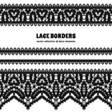 Black lace border set on white Stock Photography