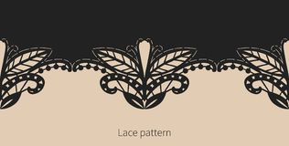 Black lace border. Vector seamless pattern. Floral symmetrical pattern. Vector seamless border Royalty Free Stock Photo