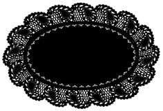 Black Lace Doily Place Mat, Leaf Edge Stock Images