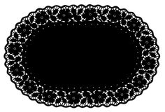 Black Lace Doily Place Mat, Rose Pattern Royalty Free Stock Image