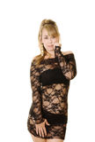 Black lace dress Royalty Free Stock Image