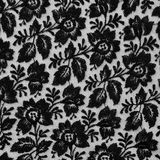 Black lace fabric with flowers Stock Photo