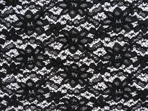 Black lace fabric. On white background royalty free stock photos