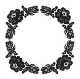 Black lace flowers in round frame. On white background Royalty Free Stock Photos