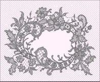 Black Lace Frame. Floral Pattern. Stock Image