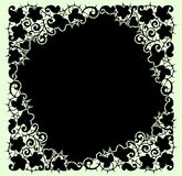 Black Lace Frame. Green Background. Royalty Free Stock Images