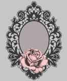 Black Lace Frame. Pink Rose. Stock Image
