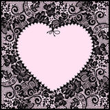 Black lace. Frame in the Shape of Heart. Stock Photos
