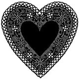 Black Lace Heart Doily on White Background. Antique black lace heart doily on a white background. Copy space to add your message for Valentine's Day, holidays Royalty Free Stock Image