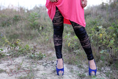 Black lace leggings Royalty Free Stock Photography