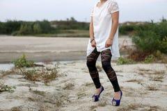 Black lace leggings Stock Photo