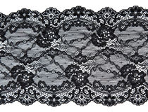 Black lace with pattern in the manner of flower. On white background Royalty Free Stock Image
