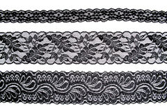 Black lace with pattern in the manner of flower Stock Images