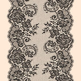 Black Lace Ribbon. Vertical Seamless Pattern. Stock Photo