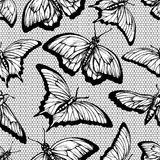 Black lace seamless pattern with butterflies and lattice on white background Stock Images