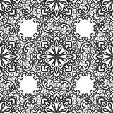 Black Lace seamless pattern with flowers on white background  Royalty Free Stock Photos