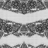 Black Lace seamless pattern with flowers on white  Royalty Free Stock Images