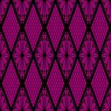 Black lace seamless pattern on pink Stock Photo