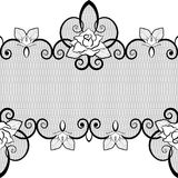 Black lace seamless pattern with roses on white background Stock Images