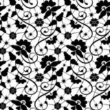 Black lace. Black seamless lace pattern on white background Stock Images