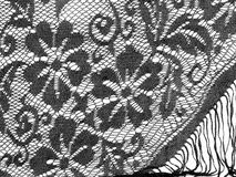Black lace shawl detail over white. With fringe, floral. Royalty Free Stock Photos