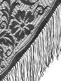 Black lace shawl, mantilla detail on white. Royalty Free Stock Image