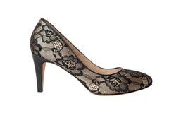 Black lace shoes Stock Photos