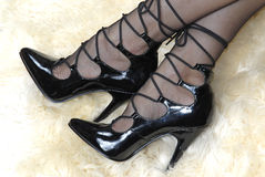 Black Lace-up Stilettos Royalty Free Stock Photo