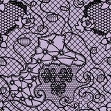 Black lace vector fabric seamless  pattern Stock Photography