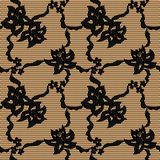 Black lace vector fabric seamless pattern Royalty Free Stock Image