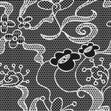 Black lace vector fabric seamless pattern Royalty Free Stock Photos