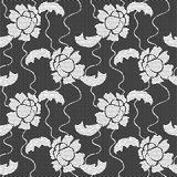 Black lace vector fabric seamless pattern Stock Images