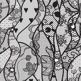 Black lace vector fabric seamless pattern Stock Photo