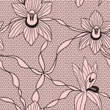Black lace vector fabric seamless pattern Stock Photos