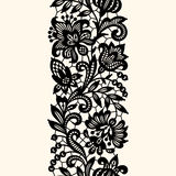 Black Lace. Vertical Seamless Pattern. Royalty Free Stock Image