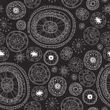 Black Lace yoga mandala floral pattern Royalty Free Stock Images