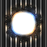 Black lacy vintage frame with shining lights on striped silver background Royalty Free Stock Photos
