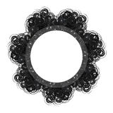 Black lacy vintage frame on white background Royalty Free Stock Photos