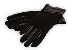 Black ladies leather gloves Stock Image