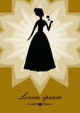 Black lady with rose, silhouette on gold background  star shape. Retro designed art deco template in victorian style for Stock Image
