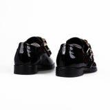 Black lady shoes   on white Royalty Free Stock Photos