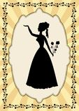 Black lady silhouette in vintage frame with flower motif in art deco style.  Stock Image